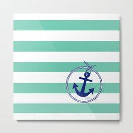 Aqua Stripes Navy Anchor Metal Print