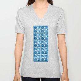Ethic tile pattern 1 blue Unisex V-Neck