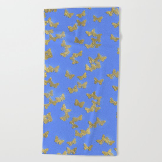 Golden butterflies on blue backround- Beautiful pattern Beach Towel