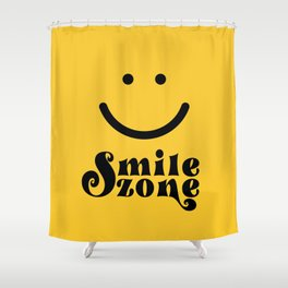 Smile Zone Smiley Novelty Typography Print Yellow Black Fun Quote Shower Curtain