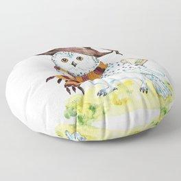Snowy White Owl  Floor Pillow