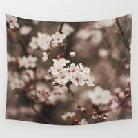cherry blossom Wall Tapestries featuring Cherry Blossom by Evan Dalen