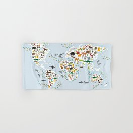 Cartoon animal world map for children and kids, Animals from all over the world Hand & Bath Towel