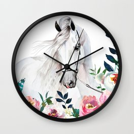 Beautiful White Horse and Flowers Wall Clock