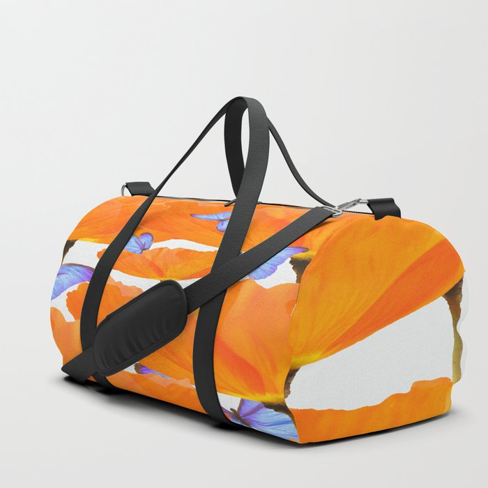 Poppies And Butterflies White Background #decor #society6 #buyart Duffle Bag
