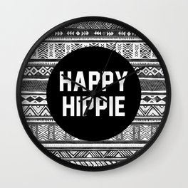Happy hippie - b&w Wall Clock