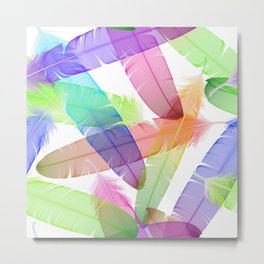 Colorful seamless feather vector pattern Metal Print
