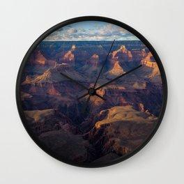 South Rim - Grand Canyon Illuminated in Evening Sunlight Wall Clock