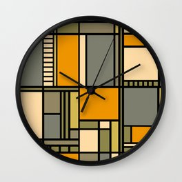 Frank Lloyd Wright Inspired Art Wall Clock