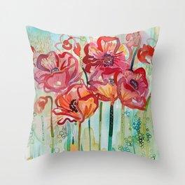 River Poppies Throw Pillow