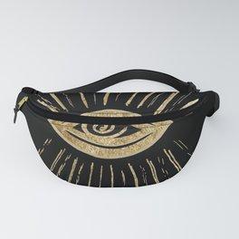 Evil Eye Gold on Black #1 #drawing #decor #art #society6 Fanny Pack