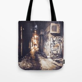 Lower East Side - Midnight Warmth on a Snowy Night Tote Bag