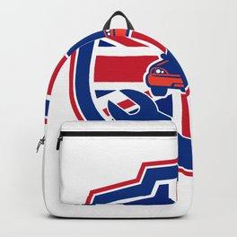 British Auto Repair Shop Union Jack Flag Crest Backpack