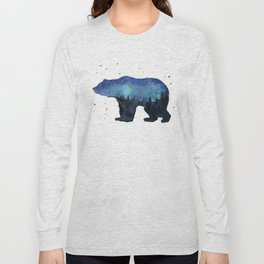 Forest Bear Silhouette Watercolor Galaxy Long Sleeve T-shirt