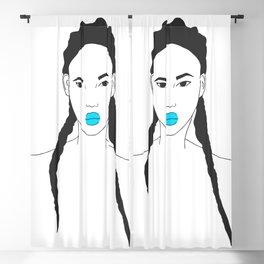 Strong Female Line Art Portrait Blackout Curtain