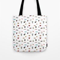 klaine Tote Bags featuring Pattern of Klaine things by Jen K