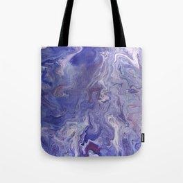 Fluid Art Acrylic Painting, Pour 4 - Purple, Blue & White Blended Color Tote Bag