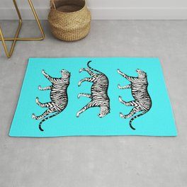 Tigers (Blue and White) Rug