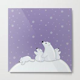 Polar Bear Family Metal Print
