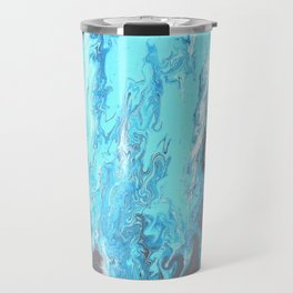Fluid Acrylic Blue Abstract Painting - When it Rains Travel Mug