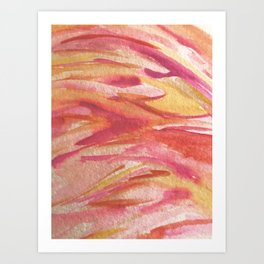 Fire: a colorful abstract watercolor piece in pinks, reds, orange, and yellow Art Print
