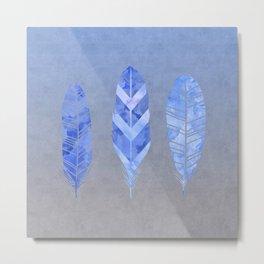 Blue Feather watercolor art Metal Print