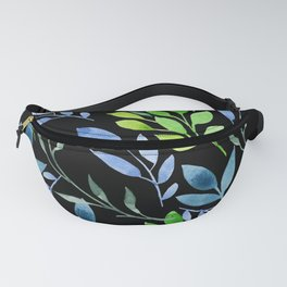 Blue and Green Leaves Fanny Pack