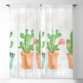 Three Green Cacti Watercolor White Blackout Curtain