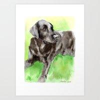 labrador Art Prints featuring Labrador by Martynas Juchnevicius