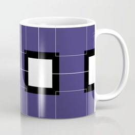 White Hairline Squares in Deep Purple Coffee Mug