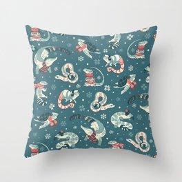 Winter herps in dark blue Throw Pillow