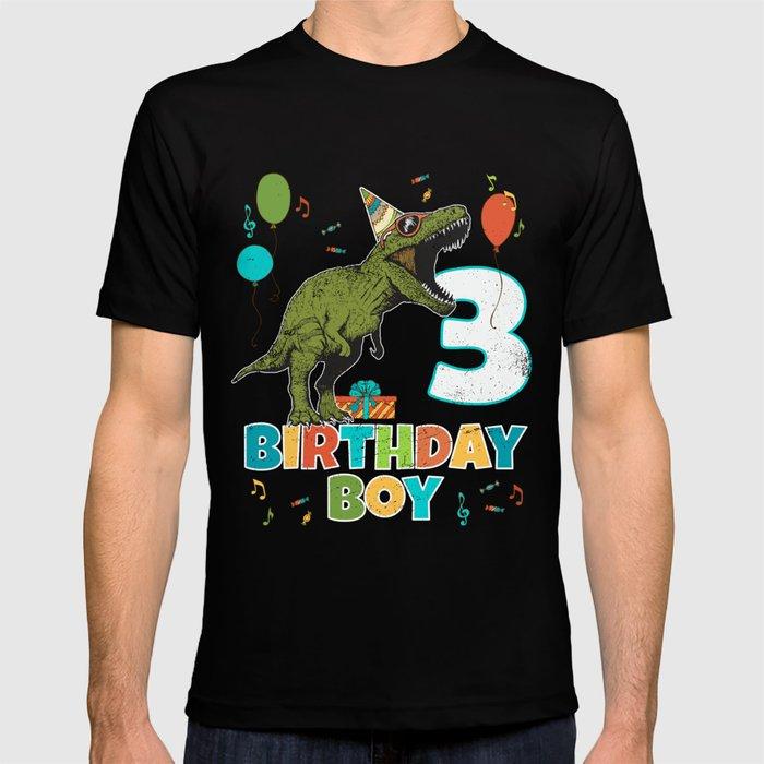 3 Year Old Kids Birthday Boy Party T Rex Dinosaur Shirt