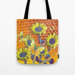 GREY-YELLOW BUTTERFLIES & SUNFLOWERS ARTISTIC HONEYCOMB DRAWING Tote Bag