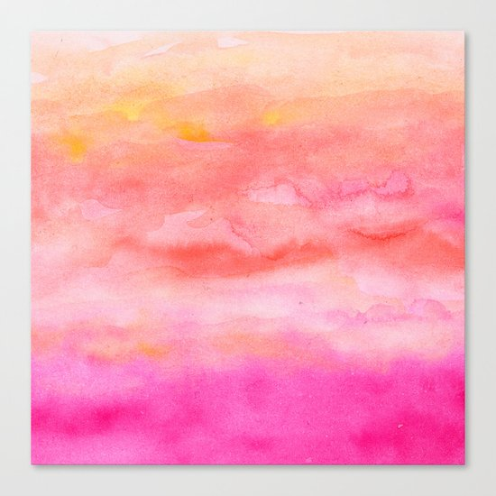 Bright pink orange sunset watercolor hand painted Canvas Print