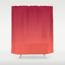 Living Coral Jester Red Gradient Ombre Pattern Bordo Burgundy Watercolor Texture Shower Curtain