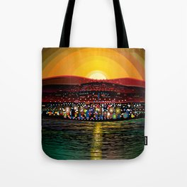 Angel Island Sunset (Square) Tote Bag