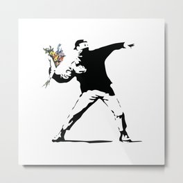 Banksy Flower Thrower Metal Print