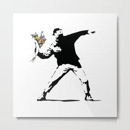 Banksy Flower Thrower Metal Print
