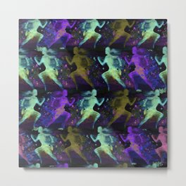 Watercolor women runner pattern on dark background Metal Print