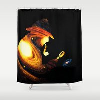 sherlock holmes Shower Curtains featuring Sherlock Holmes  by nicebleed
