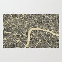 london map Area & Throw Rugs featuring London map by Map Map Maps