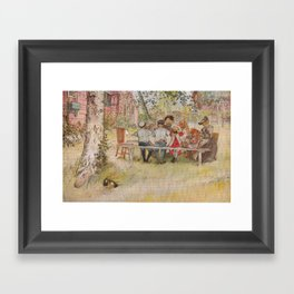 Carl Larsson Breakfast Under The Big Birch Framed Art Print