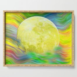MOON VISIONS AT SEA OIL PAINTING Serving Tray
