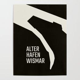 Wismar Alter Hafen Grotesk Dark Poster