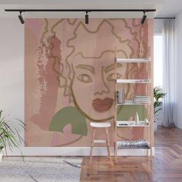 Ashley watercolor line art - pink Wall Mural