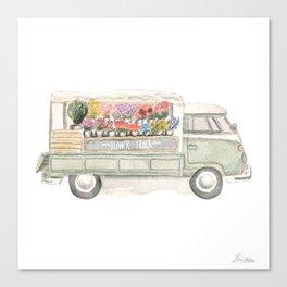 Flower Truck Watercolor Print Mint Canvas Print