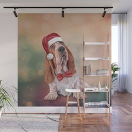 Drawing funny dog. Basset Hound in red hat of Santa Claus Wall Mural