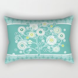 Watercolor Damask Pattern, Aqua Blue Scroll Swirls  Rectangular Pillow