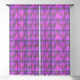 Purple striped hearts on burgundy background. Sheer Curtain