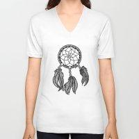 dreamcatcher V-neck T-shirts featuring Dreamcatcher by Julie Erin Designs